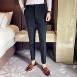 Dark pinstripe British small trousers Men's new casual small-footed trousers Men's formal men's trousers