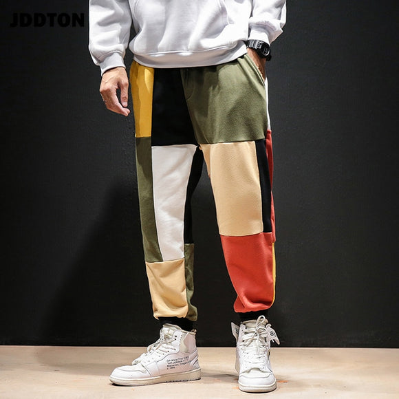 JDDTON Men's Loose Contrast Color Pants Patchwork Sweatpant Cotton Jogger Full Length Pants Casual Male Trouser Streetwear JE217