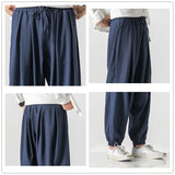 JDDTON Men Cross-pants Linen Pants Flax Hemp Loose Thin Male Fashion Casual Hip Hop Vintage Full Length Trouser Streetwear JE121