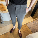Business men's spring and summer new small suits, casual nine-point pants, men's slim checkered casual suit pants