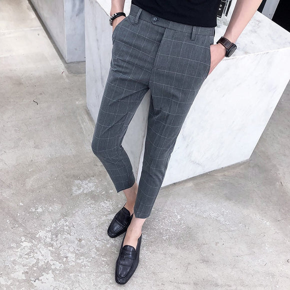 High-quality men's plaid casual pants, classic fresh and trendy ninth pants with small feet, suit pants