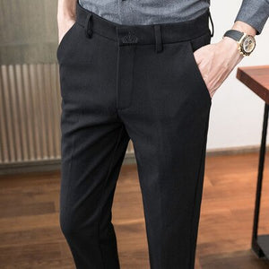 Men's autumn and winter new woolen thickened casual pants letters embroidered sanding Slim men's business trousers