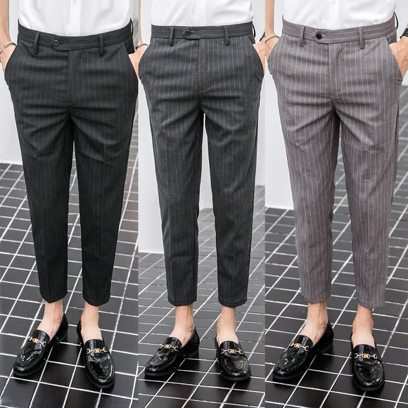 New men's British style striped cropped trousers Slim-fit trousers with small feet, youth business casual trousers, suit pants