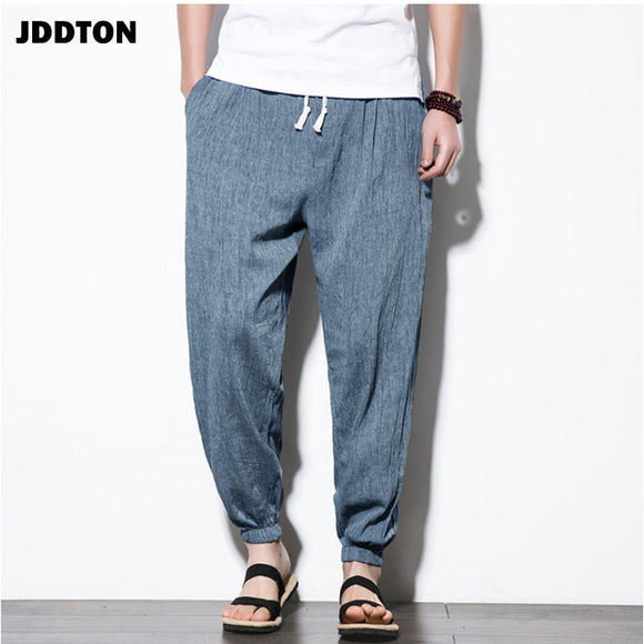 JDDTON Men's Cotton Linen Summer Harem Fashion Pants Lantern Casual Jogger Pants Track Streetwear Traditional Trouser JE024