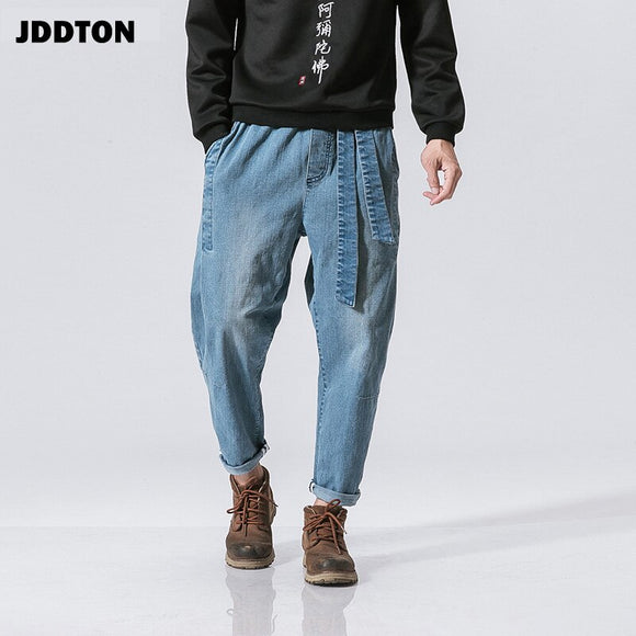 JDDTON New Men's Chinese Wind to Do The Old Trend Retro Loose  Feet Denim Washhed Streetwear Trousers Fashion Waist Jeans JE050
