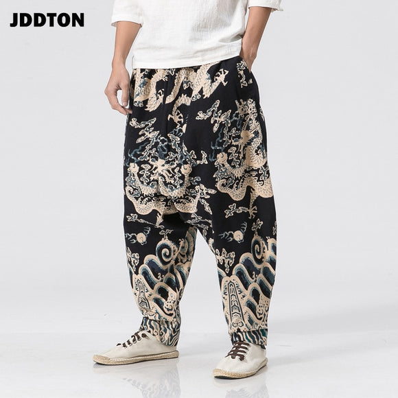 JDDTON Mens Stitching Cotton Linen Casual Ethnic Jogger Pants National Style Streetwear Print Patchwork Loose Beam Trouser JE038