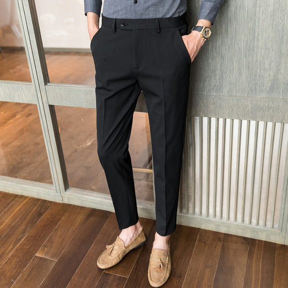 High-quality casual pants men's autumn and winter simple solid color small trousers Slim urban boys suit pants business trousers