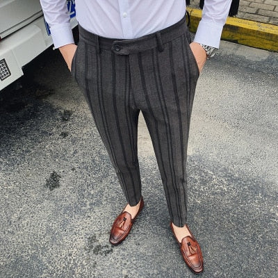 Autumn and spring men's casual pants Korean business trousers Trendy business classic striped trousers