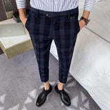 High-quality summer thin section men's plaid cropped trousers, men's slim business casual pants, stretchy feet suit pants