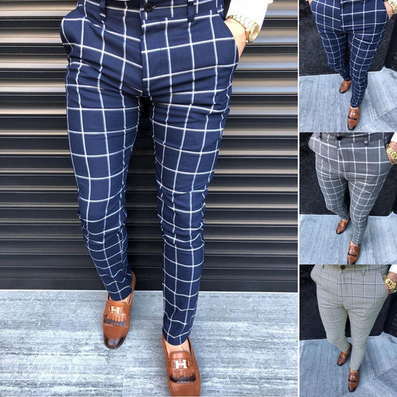 New European and American Men's Plaid Business Pants Spot Suit Pants Formal Pants Formal Overalls MJ0253