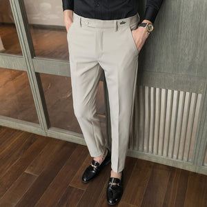 High quality men's autumn simple solid color small trousers Slim urban casual pants trousers men