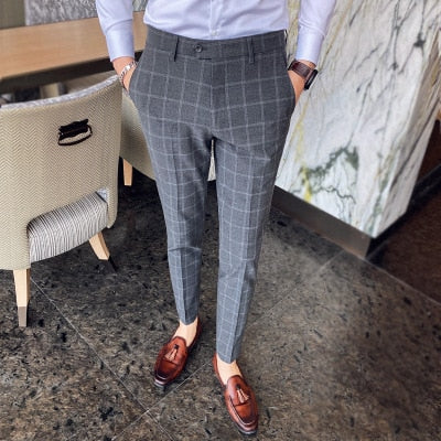High-quality men's casual pants Fashion plaid Korean style trousers with small feet Men's formal pants Exact trousers Suit pants