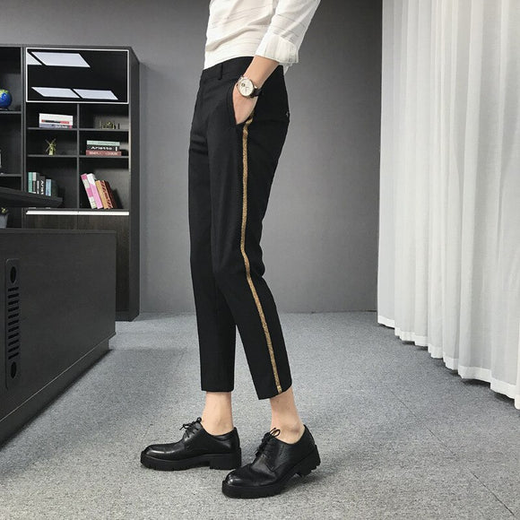 High-quality summer new men's business thin cropped trousers casual light business men's trousers with small feet suit pants