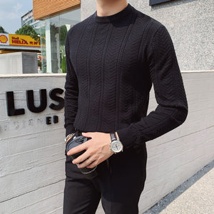 2020 Autumn And Winter New Youth Popular Loose Solid Color Personalized Pattern Knit Sweater Fashion Casual Round Neck Pullover