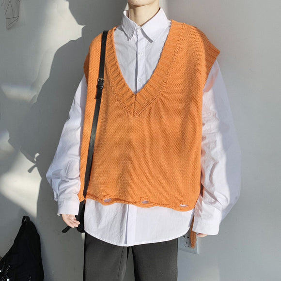 2020 Spring And Autumn New Youth Popular V-neck Sleeveless Waistcoat Loose Sweater Fashion Casual Bottoming Pullover S-XL