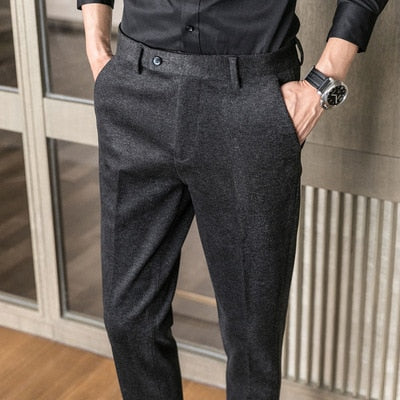High-quality spring and autumn Korean casual sanded small trousers Slim casual long pants suit pants