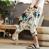 JDDTON Men's Summer Linen Pattern Print Pants Fashion Wide-Legged Baggy Casual Loose Big Pocket Pants Drawstring Trousers JE027