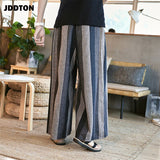 JDDTON Men Spring Cotton Linen Casual Ethnic Jogger Pant National Style Streetwear Loose Beam Male Stripe Straight Trouser JE054