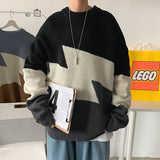 2020 Autumn And Winter New Youth Popular Men's Hong Kong Style Contrast Thick Sweater Fashion Casual Round Neck Pullover