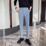 High-quality men's autumn new pure color small trousers, slim-fit, simple, small-foot suit pants, plus size casual long pants