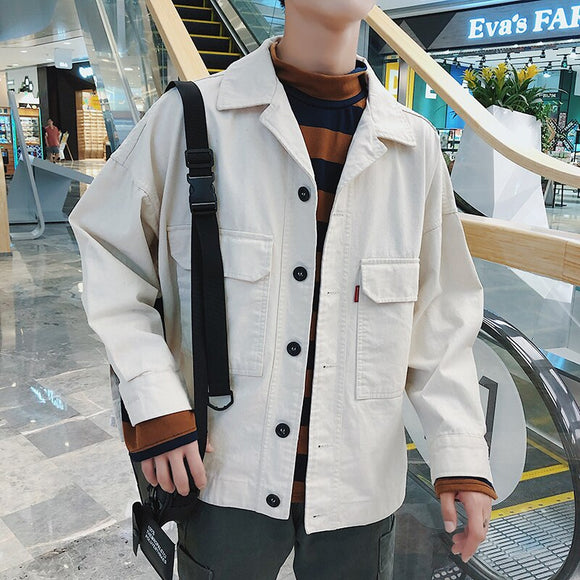 2019 Spring Korean Version Of The Campus Fashion Trend Couple Men's Long-sleeved Casual Loose Solid Color Tooling Wild Jacket