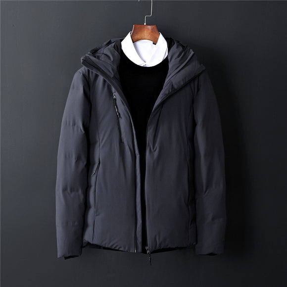 High Quality 80% White Duck Down Winter Down Jacket For Men Fashion Hooded Jacket Short Black Warm Slim Parka Size M-3XL
