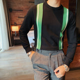 2020 Autumn And Winter New Youth Popular Men's Loose Contrast Color Round Neck Sweater Fashion Casual Bottoming Shirt
