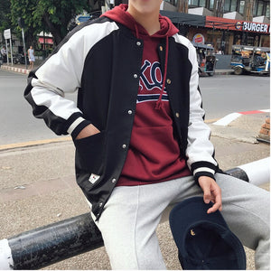2019 Autumn And Winter New Youth Popular Students Round Neck Stitching Jacket Fashion Casual Loose Top Black / Red M-5XL