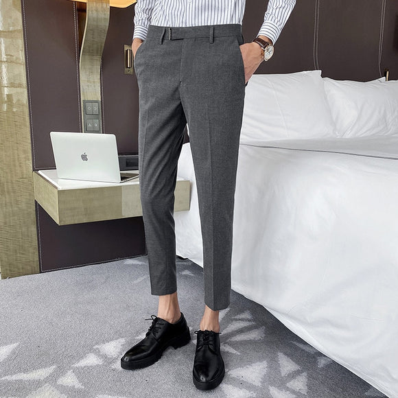 High-quality men's simple solid color cropped trousers casual spring and summer casual small western pants suit feet pants