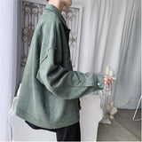 2019 Autumn And Winter New Youth Popular Lapel Tooling Jacket Fashion Casual Solid Color Loose Jacket Black Beige / Blue / Green