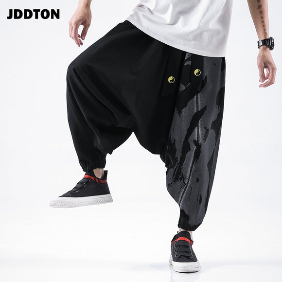 JDDTON Men's Loose Cotton Linen Pants Printing Sweatpants Chinese Style Ankle Length Pants Casual Streetwear Male Trousers JE366