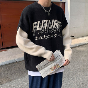 2020 Autumn And Winter New Youth Popular Korean Personality Pattern Stitching Fake Two-piece Sweater Casual Fashion Pullover