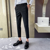 Men's elastic waist, solid color classic business men's small trousers, summer nine-point casual pants, men's suit pants