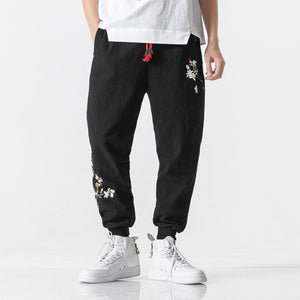 JDDTON New Men's Embroidered Harem Pants Beam Foot Trouser Loose Casual Hip Hop Japanese Male Fashion Harajuku Streetwear JE618
