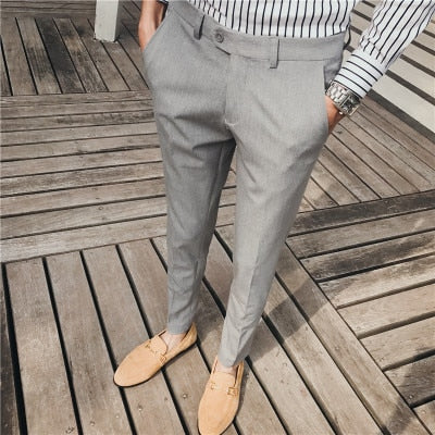 Men's solid color small trousers classic basic small feet casual trousers men's bottoms men's formal suit pants