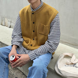 Autumn New Sweater Vest Men's Slim Fashion Solid Color Casual O-neck Knit Sweater Street Wild Sleeveless Sweater Male Clothes