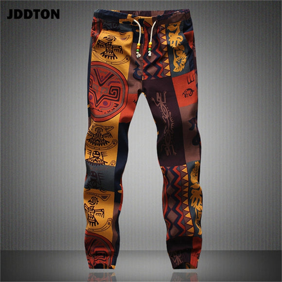 JDDTON Summer Men's Loose Beam Foot Floral Pants Sweatpants Cotton Linen Full Length Pants Casual Streetwear Male Trousers JE229