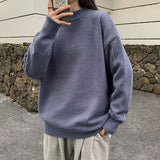 2020 Spring And Autumn New Youth Fashion Men's Loose Solid Color Sweater Fashion Casual All-match Round Neck Pullover M-2XL