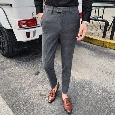 Men's New High Quality Casual Business Trousers Retro Fashion Plaid Men's Comfortable Small Trousers Bottoms