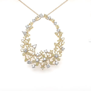 WHITE AND YELLOW DIAMOND FLOWER PENDANT