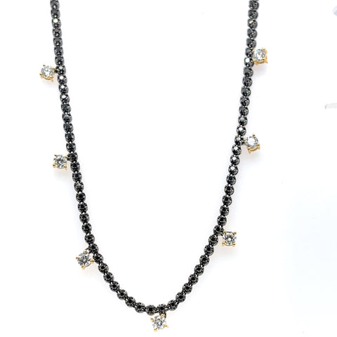 BLACK DIAMOND CHOKER WITH 7 WHITE DIAMOND DROPS