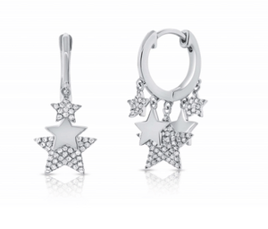 HUGGIE STAR DIAMOND EARRINGS