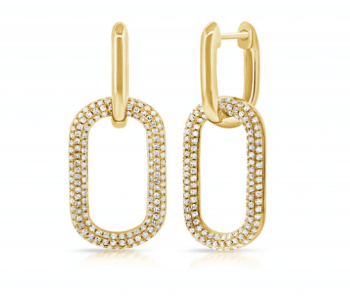 PAVE DIAMOND PAPER CLIP EARRINGS