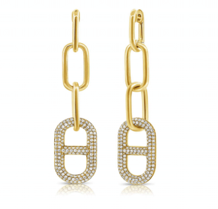 PAPER CLIP LINK EARRINGS WITH DIAMONDS