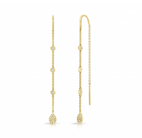 CHAIN EARRINGS WITH PEAR SHAPED PAVE DISKS