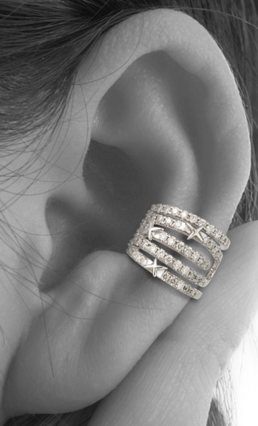 WHITE GOLD STAR EAR CUFF