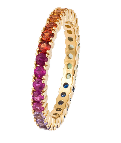 THIN DIAMOND RAINBOW BAND