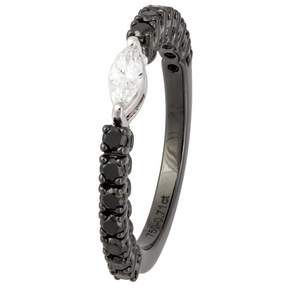 BLACK AND WHITE GOLD MARQUISE DIAMOND RING