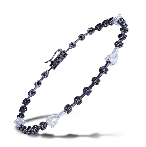 BLACK AND PEAR DIAMOND BRACELET