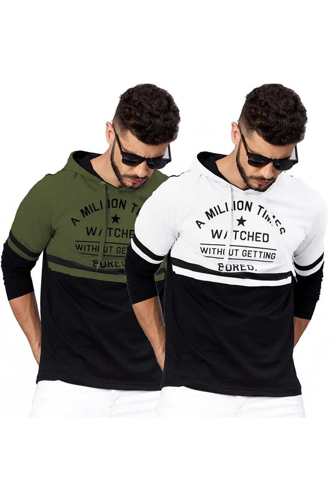 MANIAC Printed, Color Block Men Hooded Neck Dark Green, White T-Shirt (Pack of 2)
